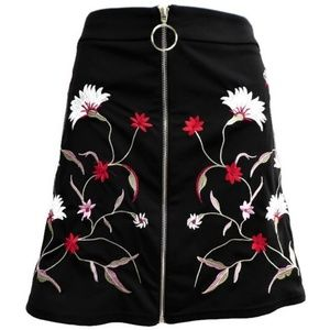 Shein Skirt Full Front Zip Floral Embroidery Black